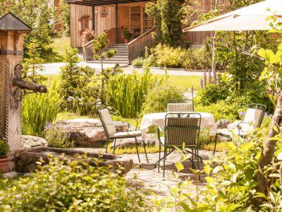 Garten, Brunnen, Lech, Hotel Aurora